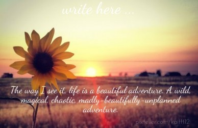 The way i see it, life is a beautiful adventure. a wild, magical, chaotic, madly-beautifully-unplanned adventure. write here ...