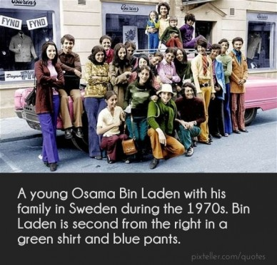 A young osama bin laden with his family in sweden during the 1970s. Bin Laden is second from the right in a green shirt and blue pants.