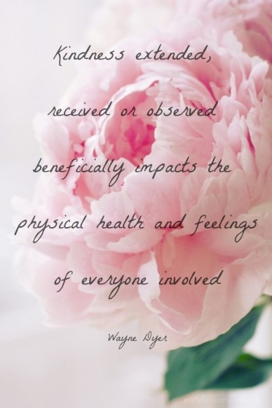 Kindness extended, received or observed beneficially impacts the physical health and feelingsof everyone involvedwayne dyer