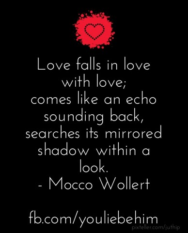 Love falls in love with love; comes like an echo sounding back, searches its mirrored shadow within a look. - mocco wollert fb.com/youliebehim