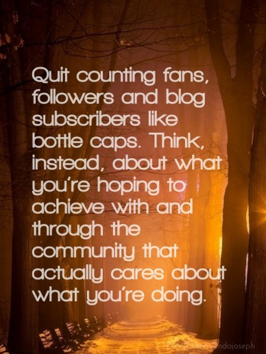 Quit counting fans, followers and blog subscribers like bottle caps. think, instead, about what you're hoping to achieve with and through the community that actually cares abo