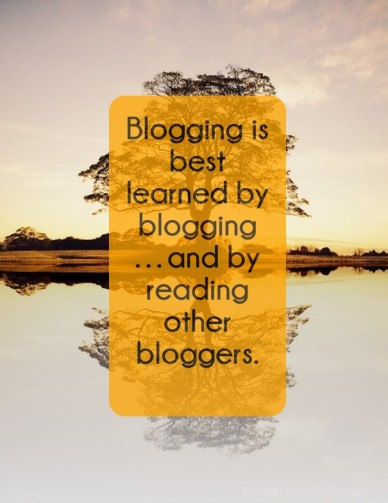 Blogging is best learned by blogging…and by reading other bloggers.