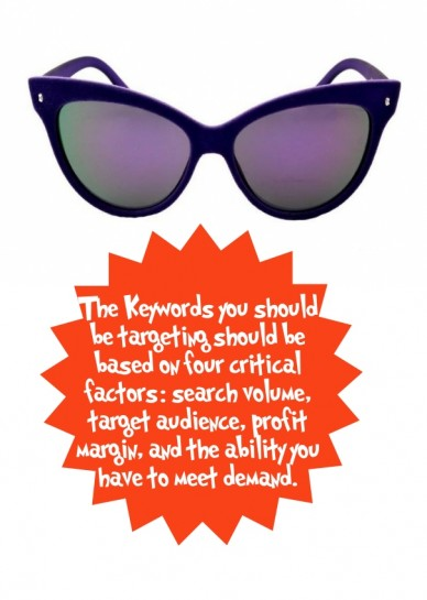 The keywords you should be targeting should be based on four critical factors: search volume, target audience, profit margin, and the ability you have to meet demand.