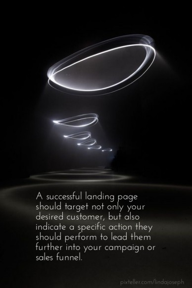 A successful landing page should target not only your desired customer, but also indicate a specific action they should perform to lead them further into your campaign or sale