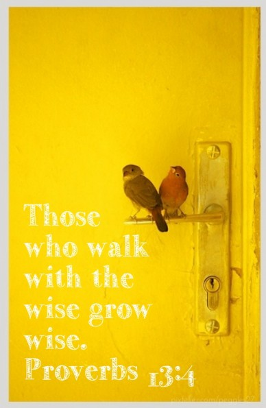 Those who walkwith thewise growwise.proverbs 13:4