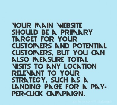 Your main website should be a primary target for your customers and potential customers, but you can also measure total visits to any location relevant to your strategy, such