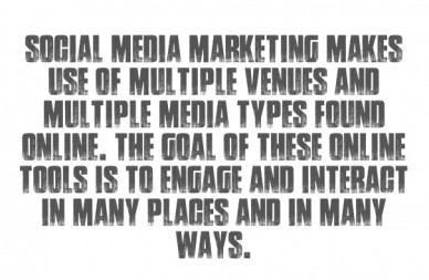 Social media marketing makes use of multiple venues and multiple media types found online. the goal of these online tools is to engage and interact in many places and in many