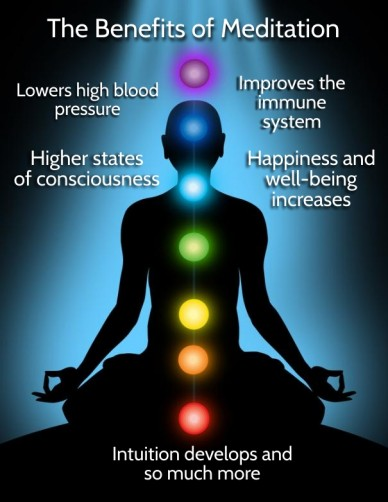 The benefits of meditation lowers high blood pressure improves the immunesystem happiness and well-being increases intuition develops and so much more higher states of conscio