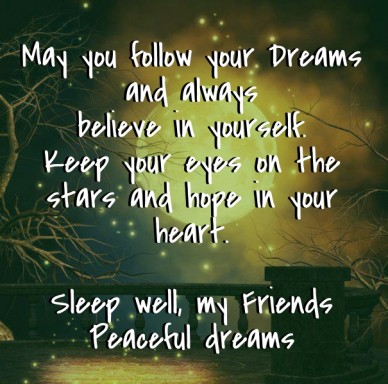May you follow your dreams and always believe in yourself.keep your eyes on the stars and hope in your heart. sleep well, my friends peaceful dreams