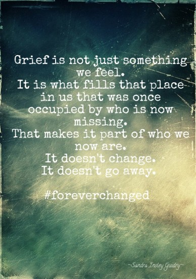 Grief is not just something we feel. it is what fills that place in us that was once occupied by who is now missing. that makes it part of who we now are. it doesn't change. i