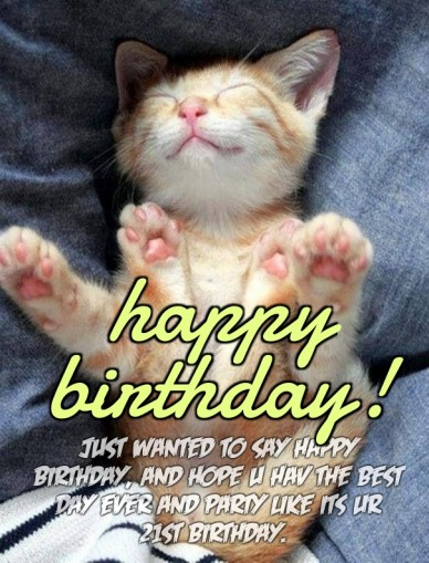 Just wanted to say happy birthday, and hope u hav the best day ever and party like its ur 21st birthday.