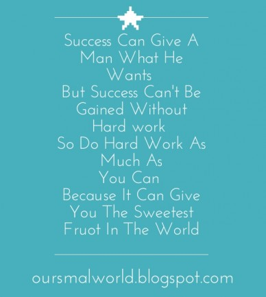 Success can give a man what he wants but success can't be gained without hard work so do hard work as much as you can because it can give you the sweetest fruot in the world o