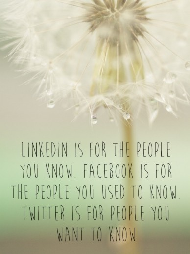 Linkedin is for the people you know. facebook is for the people you used to know. twitter is for people you want to know