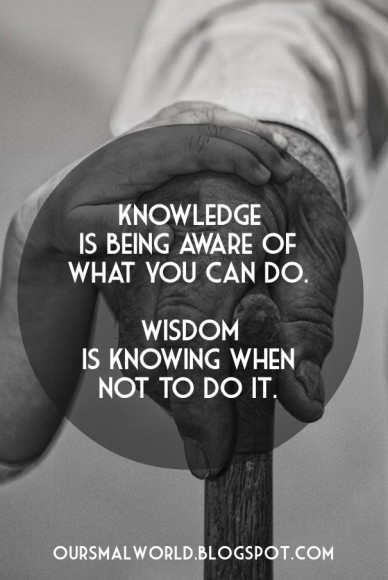Knowledge is being aware of what you can do. wisdom is knowing when not to do it. oursmalworld.blogspot.com