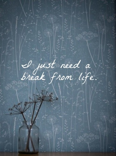 I just need a break from life.