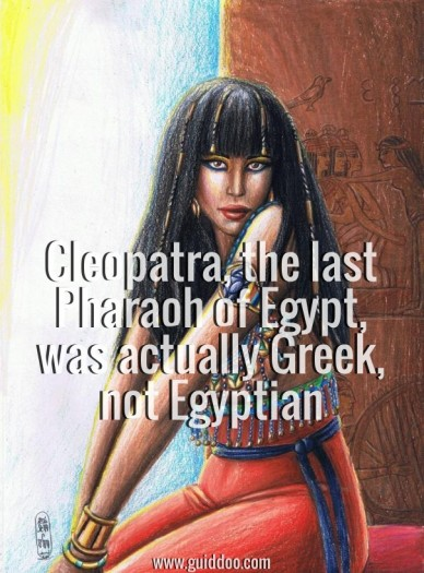 Cleopatra, the last pharaoh of egypt, was actually greek, not egyptian www.guiddoo.com