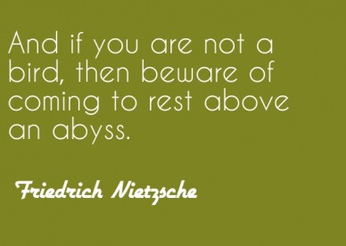 And if you are not a bird, then beware of coming to rest above an abyss. friedrich nietzsche