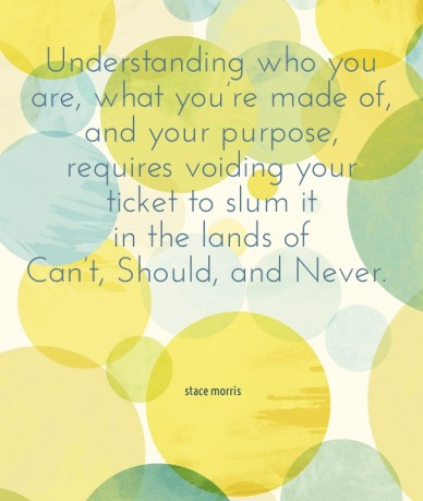 Understanding who you are, what you're made of, and your purpose, requires voiding your ticket to slum it in the lands of can't, should, and never. stace morris