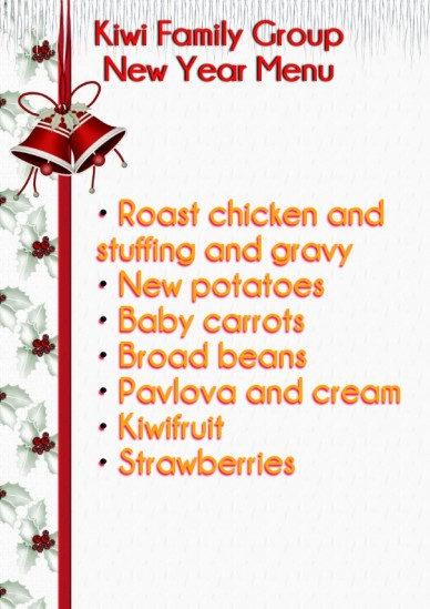 Kiwi family group new year menu • roast chicken and stuffing and gravy • new potatoes • baby carrots • broad beans • pavlova and cream • kiwifruit • strawberries