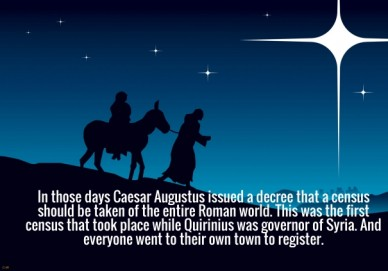 In those days caesar augustus issued a decree that a census should be taken of the entire roman world. this was the first census that took place while quirinius was governor o
