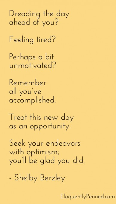 New day, new opportunity.