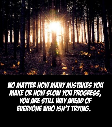No matter how many mistakes you make or how slow you progress, you are still way ahead of everyone who isn't trying.