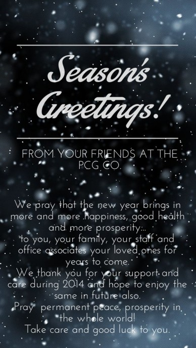 Season's greetings! we pray that the new year brings in more and more happiness, good health and more prosperity...to you, your family, your staff and office associates your l