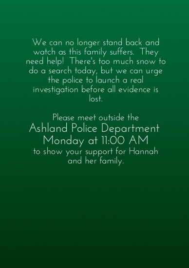 We can no longer stand back and watch as this family suffers. they need help! there's too much snow to do a search today, but we can urge the police to launch a real investiga