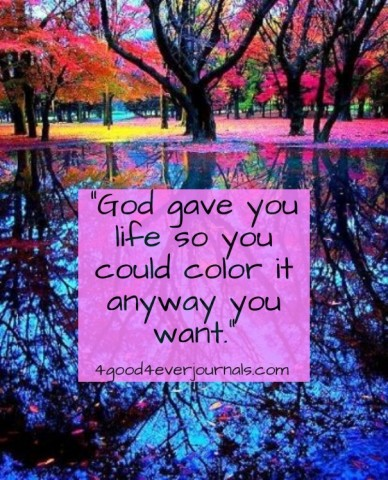 """""""god gave you life so you could color it anyway you want."""" 4good4everjournals.com"""