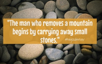 """the man who removes a mountain begins by carrying away small stones."" #4good4ever"
