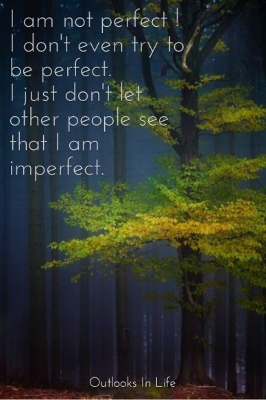 I am not perfect ! i don't even try to be perfect.i just don't let other people see that i am imperfect. outlooks in life
