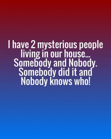 I have 2 mysterious people living in our house... somebody and nobody. somebody did it and nobody knows who!