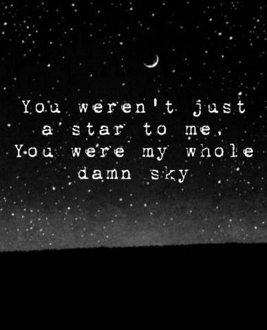 You weren't just a star to me,you were my whole damn sky