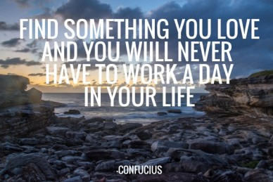 Find something you love and you wiill never have to work a dayin your life -confucius