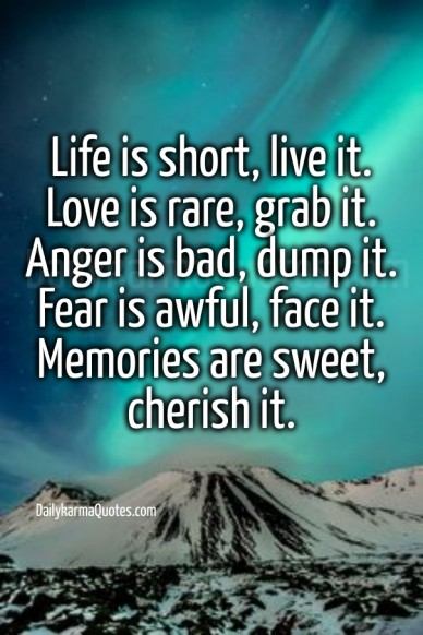 Life is short, live it. love is rare, grab it. anger is bad, dump it. fear is awful, face it. memories are sweet, cherish it. dailykarmaquotes.com dailykarmaquotes.com