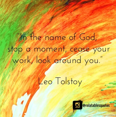 """in the name of god, stop a moment, cease yourwork, look around you."" ― leo tolstoy @relatablesquotes"