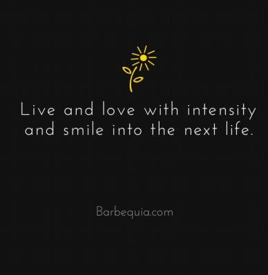 Live and love with intensity and smile into the next life. barbequia.com