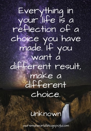 Everything in your life is a reflection of a choice you have made. if you want a different result, make a different choice. unknown oursmalworld.blogspot.com