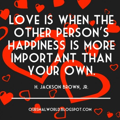 Love is when the other person's happiness is more important than your own. h. jackson brown, jr. oursmalworld.blogspot.com