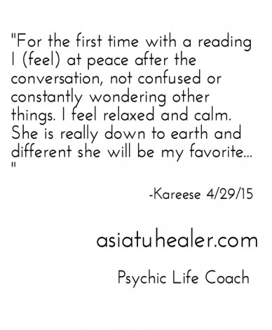 """""""for the first time with a reading i (feel) at peace after the conversation, not confused or constantly wondering other things. i feel relaxed and calm. she is really down to"""