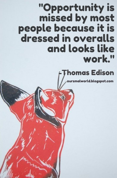 """""""opportunity is missed by most people because it is dressed in overalls and looks like work."""" -thomas edison oursmalworld.blogspot.com"""