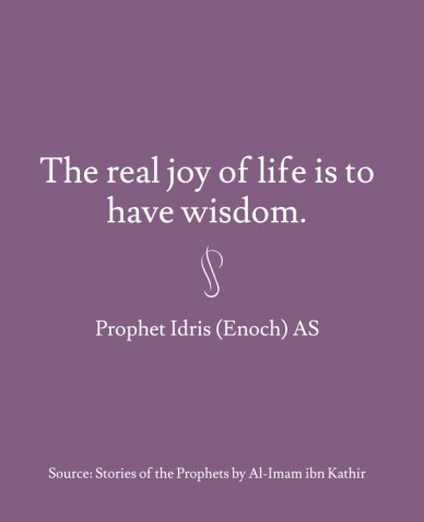 The real joy of life is to have wisdom. prophet idris (enoch) as source: stories of the prophets by al-imam ibn kathir