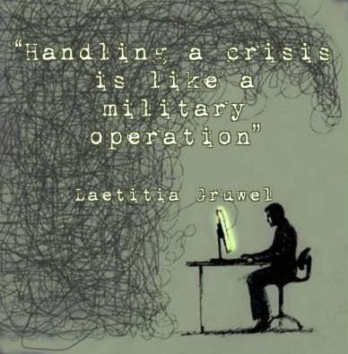 """handling a crisis is like a military operation"" laetitia gruwel"