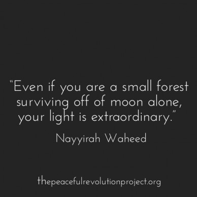 """""""even if you are a small forest surviving off of moon alone, your light is extraordinary."""" ― nayyirah waheed thepeacefulrevolutionproject.org"""