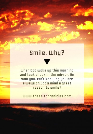 Smile. why? when god woke up this morning and took a look in the mirror, he saw you. isn't knowing you are always on god's mind a great reason to smile? www.thesaltchronicles.