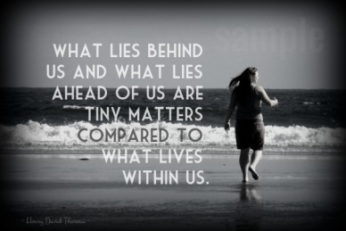 What lies behind us and what lies ahead of us are tiny matters compared to what lives within us. ~ henry david thoreau ~ sample