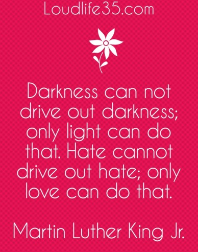 Darkness can not drive out darkness; only light can do that. hate cannot drive out hate; only love can do that. martin luther king jr. loudlife35.com