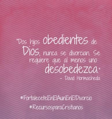 """""""dos hijos obedientes de dios, nunca se divorcian. se requiere que al menos uno desobedezca."""" - david hormacheda #fortaleceteenelauneneldivorcio#recursosparacristianos"""