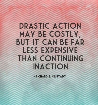 Drastic action may be costly, but it can be far less expensive than continuing inaction. - richard e. neustadt