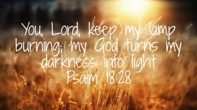 You, lord, keep my lamp burning; my god turns my darkness into light psalm 18:28